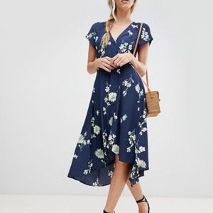 Free People Lost In You Blue Wrap Midi Dress NWT